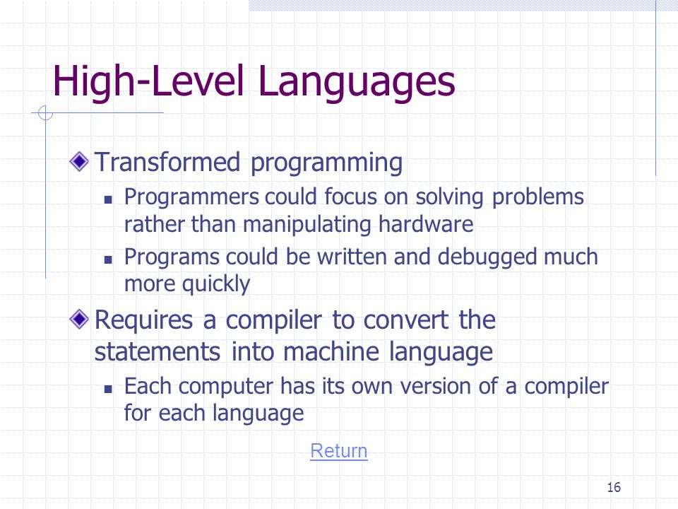 High-Level Languages Transformed programming