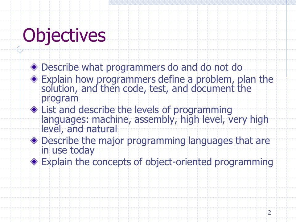 Objectives Describe what programmers do and do not do