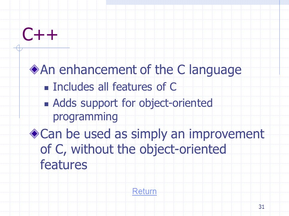 C++ An enhancement of the C language