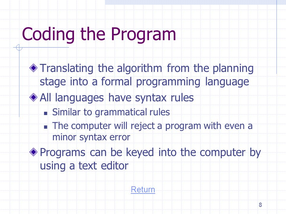 Coding the Program Translating the algorithm from the planning stage into a formal programming language.