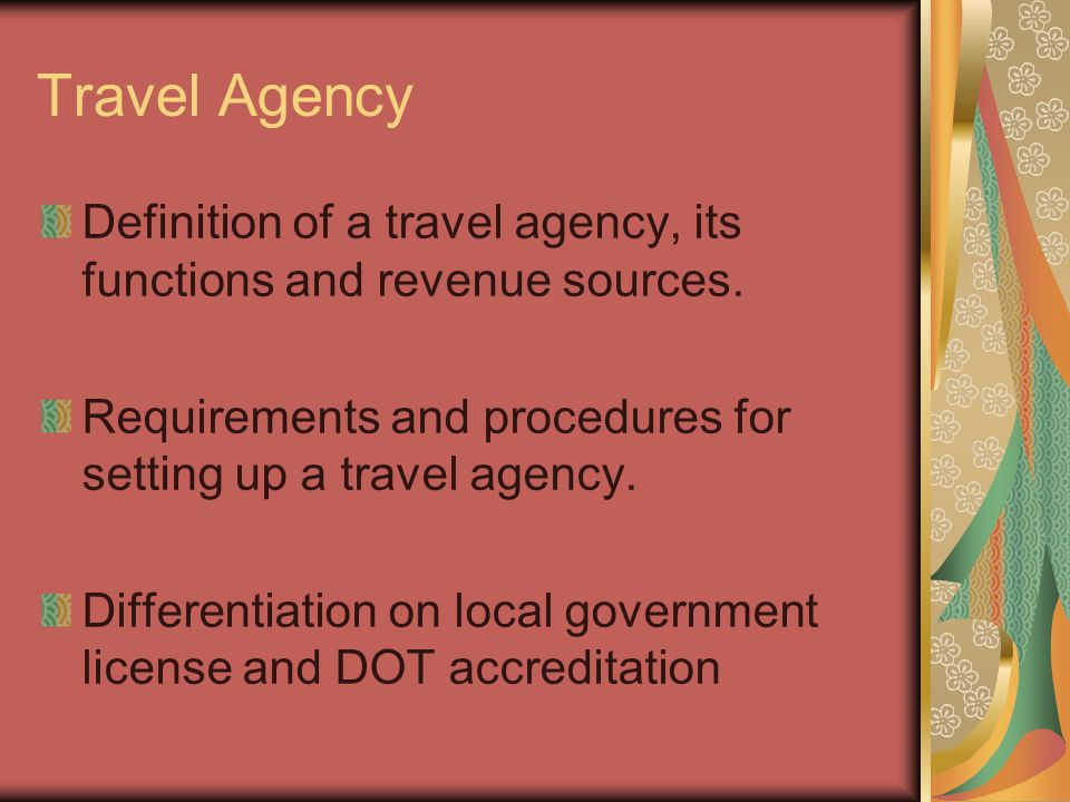 Travel and tour operations ppt video online download for Set up meaning