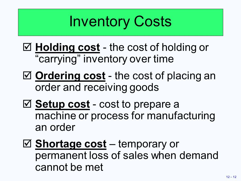 inventory and annual holding cost This inventory carrying cost calculator is designed to facilitate a dia-  annual  stock purchases – since spas are generally used for stock items, this is the.