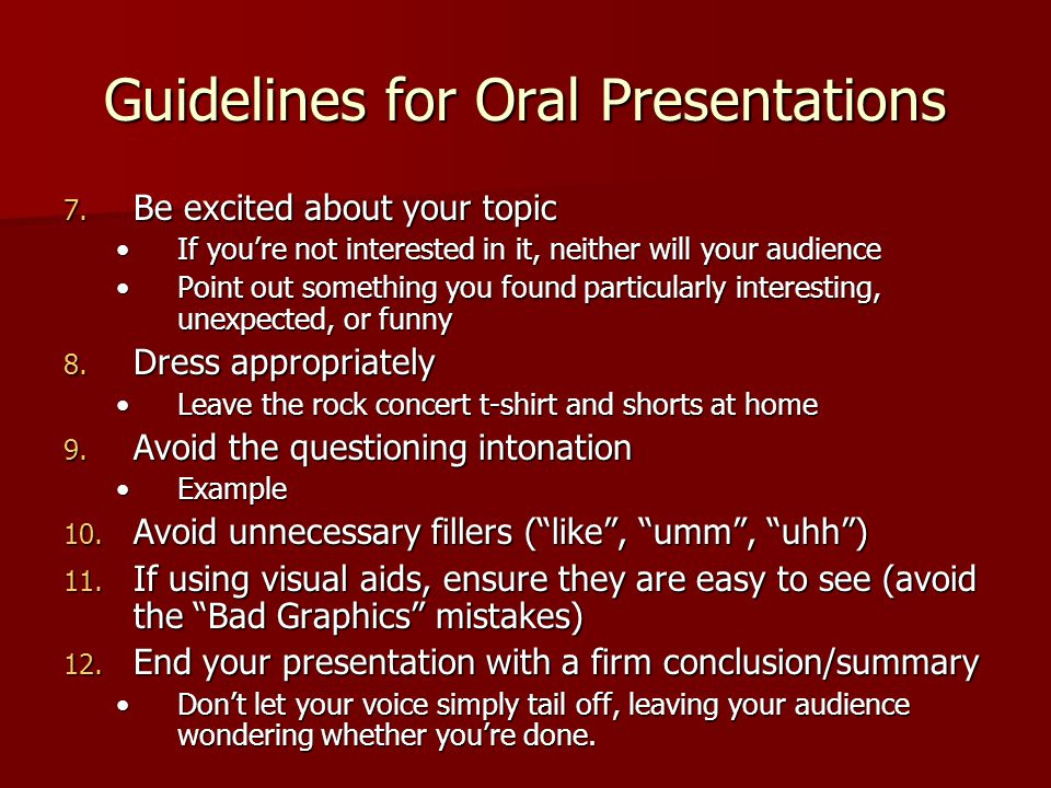 how to start and end an oral presentation