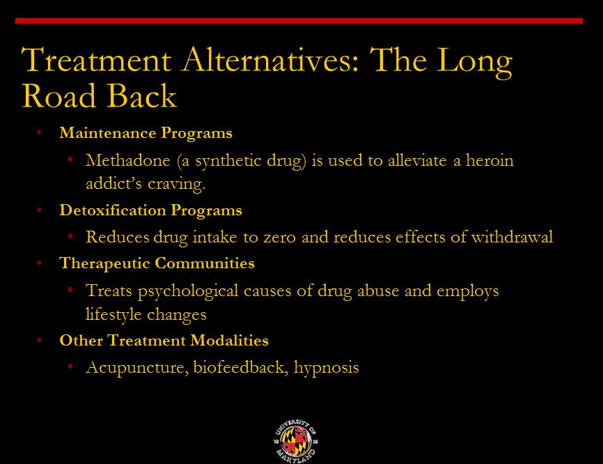 heroin addiction methadone maintenance Methadone maintenance treatment also addresses the psychological aftereffects of heroin addiction through ongoing behavioral treatment interventions unlike physical withdrawal, the psychological effects of addiction can persist long after a person stops using the drug.