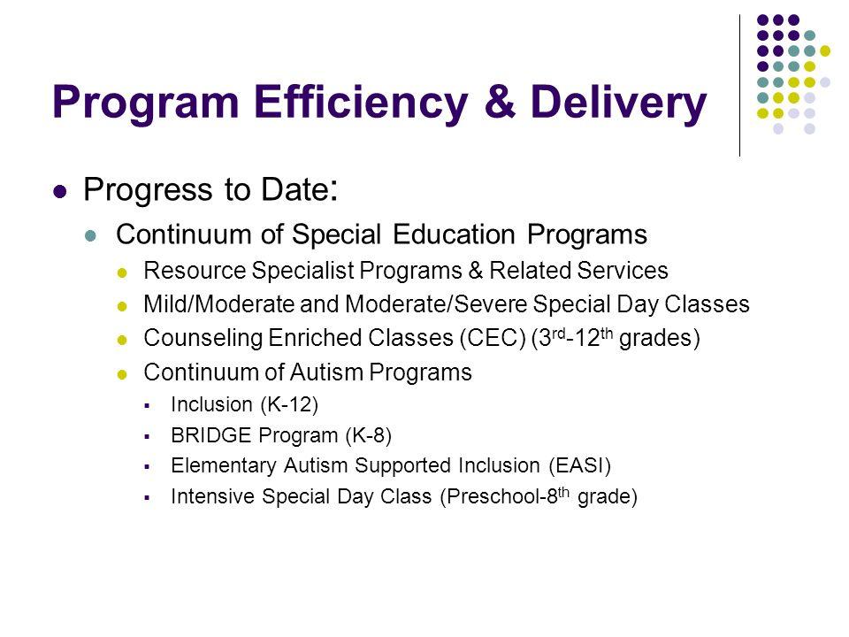 Program Efficiency & Delivery
