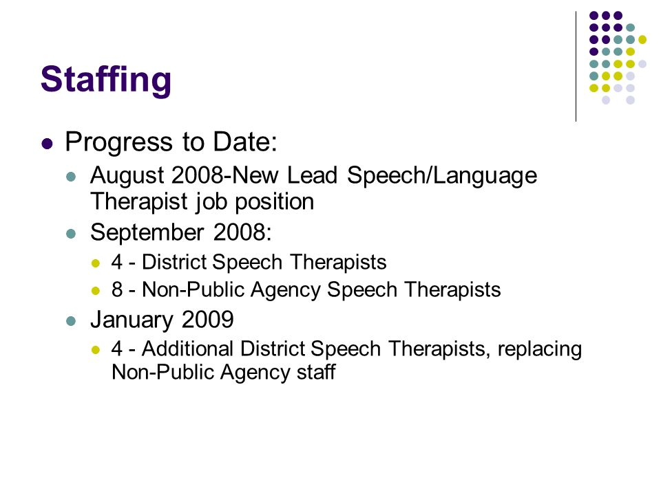 Staffing Progress to Date: