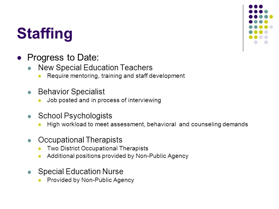 Staffing Progress to Date: New Special Education Teachers
