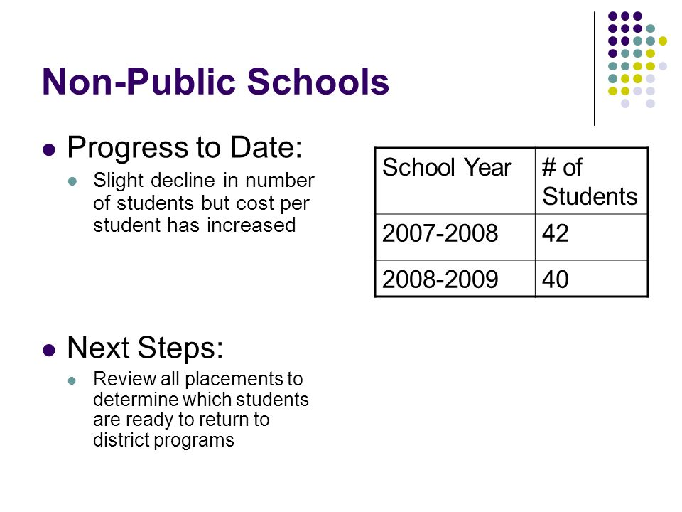 Non-Public Schools Progress to Date: Next Steps: School Year