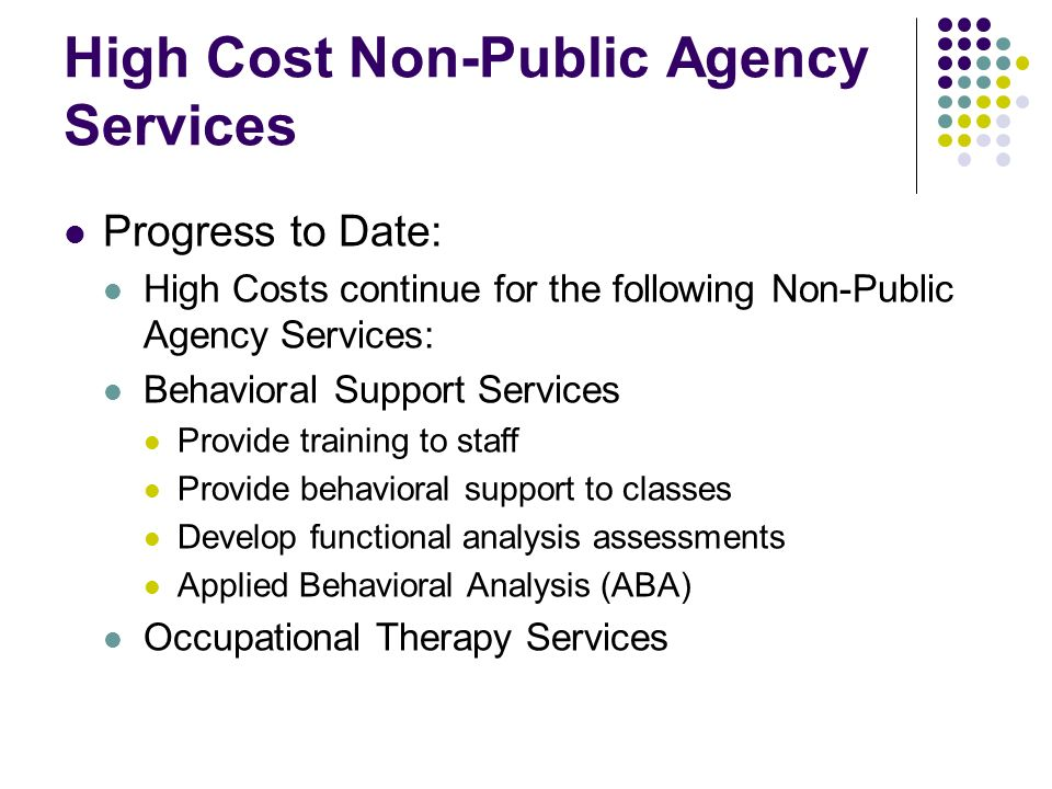 High Cost Non-Public Agency Services