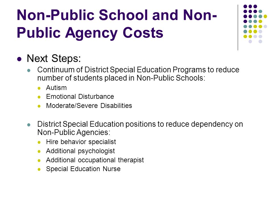 Non-Public School and Non-Public Agency Costs