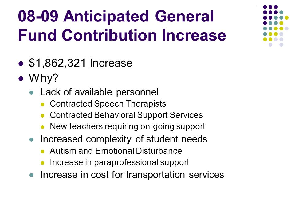 08-09 Anticipated General Fund Contribution Increase