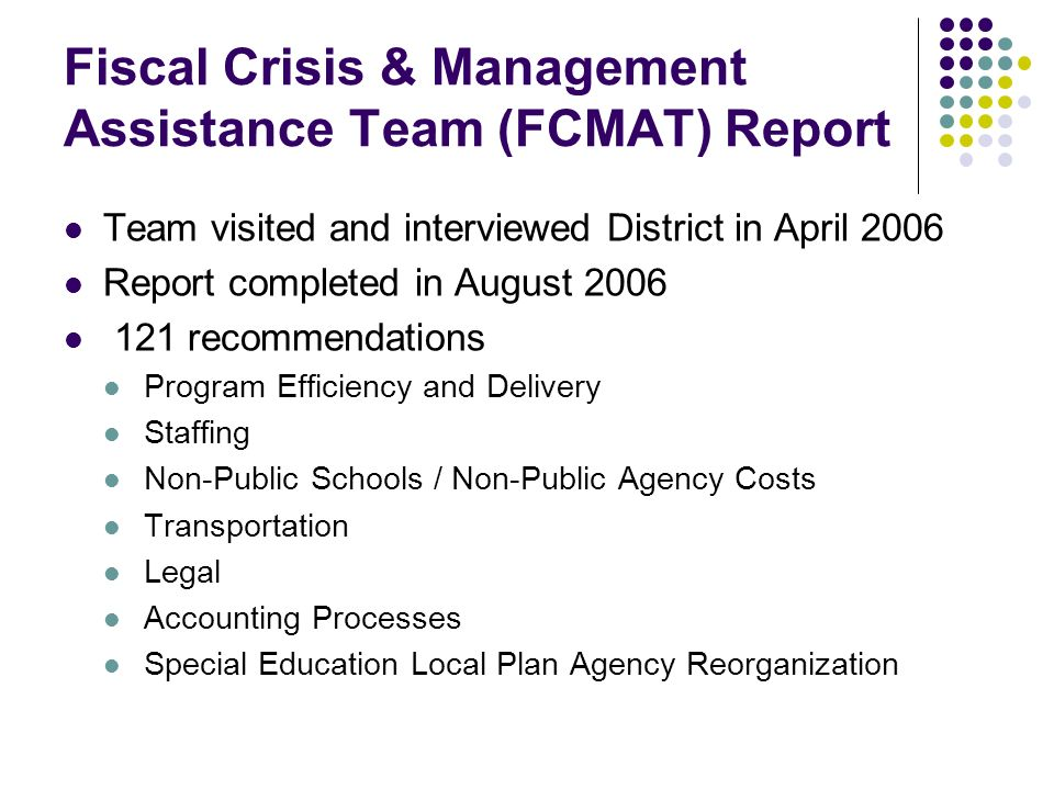 Fiscal Crisis & Management Assistance Team (FCMAT) Report