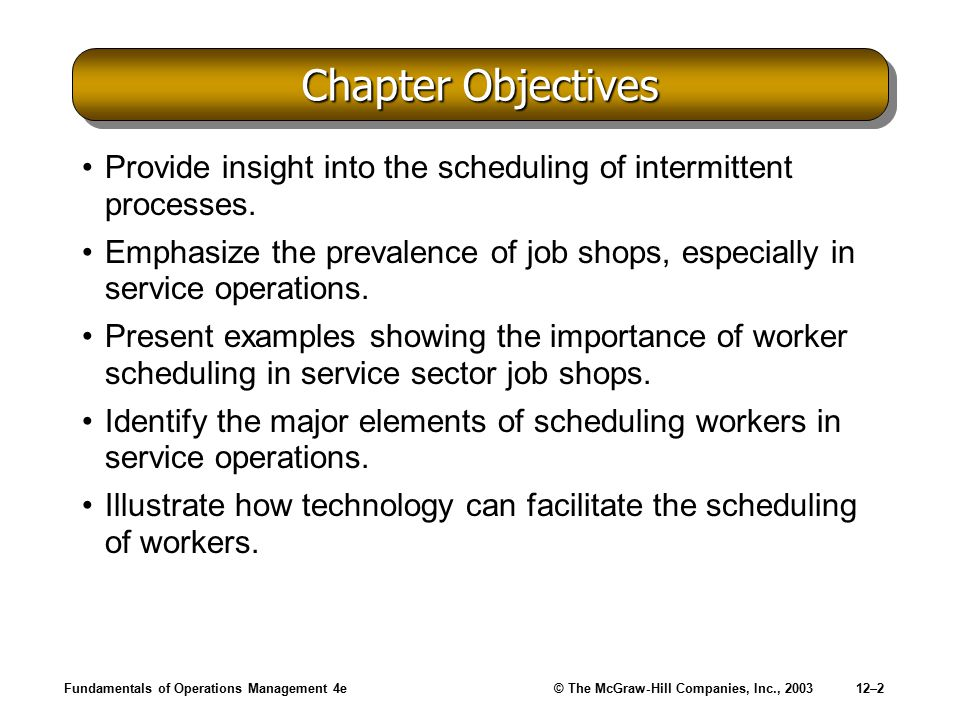 Chapter Objectives Provide insight into the scheduling of intermittent processes.