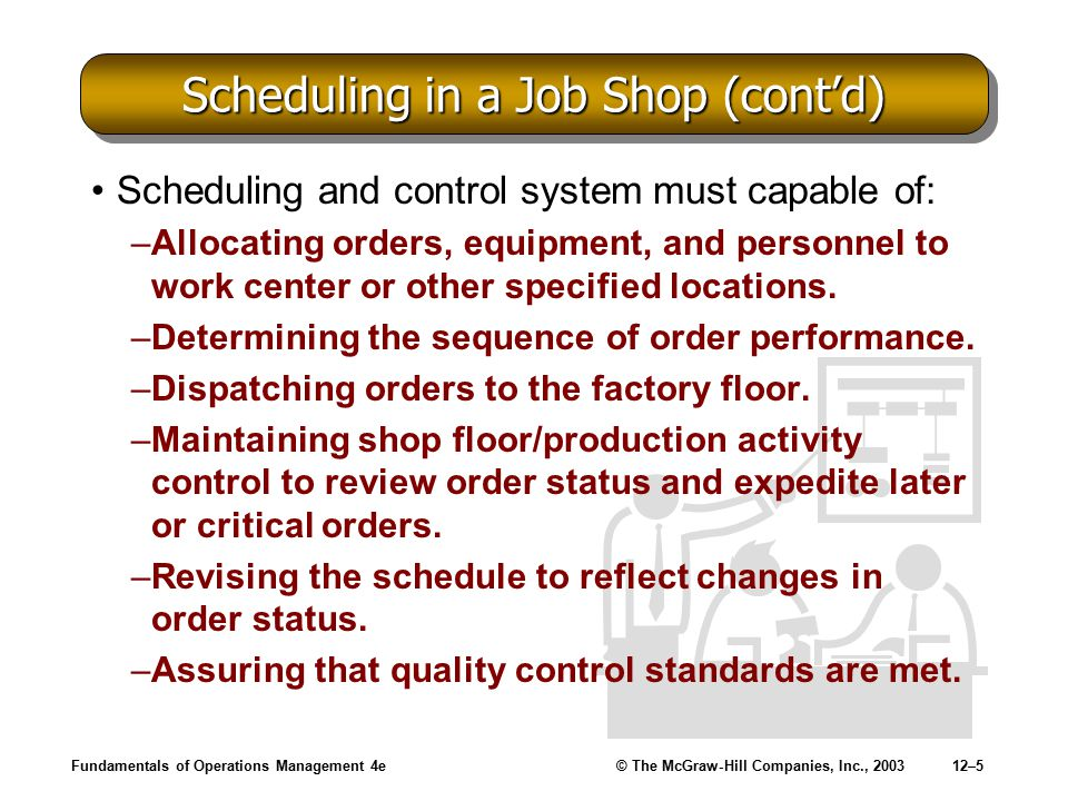 Scheduling in a Job Shop (cont'd)
