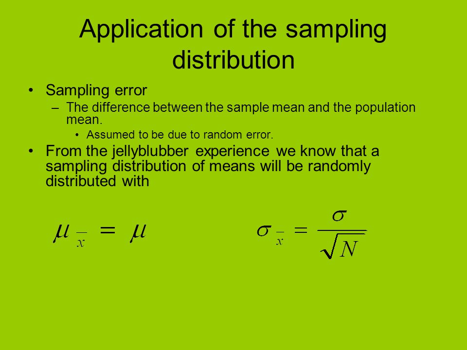 Application of the sampling distribution