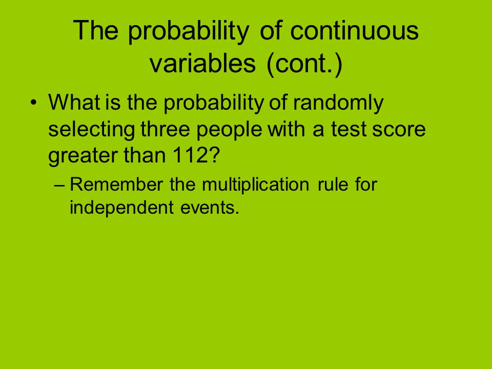 The probability of continuous variables (cont.)