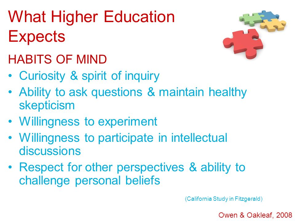 What Higher Education Expects