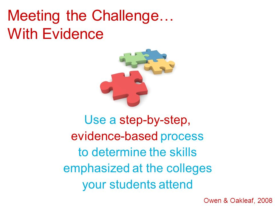 Meeting the Challenge… With Evidence