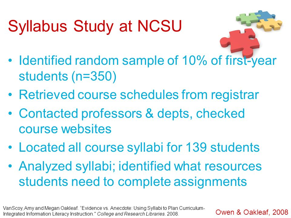 Syllabus Study at NCSU Identified random sample of 10% of first-year students (n=350) Retrieved course schedules from registrar.