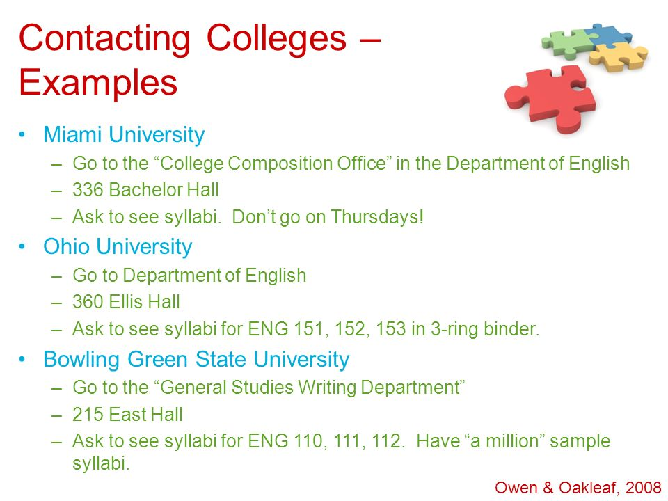 Contacting Colleges – Examples