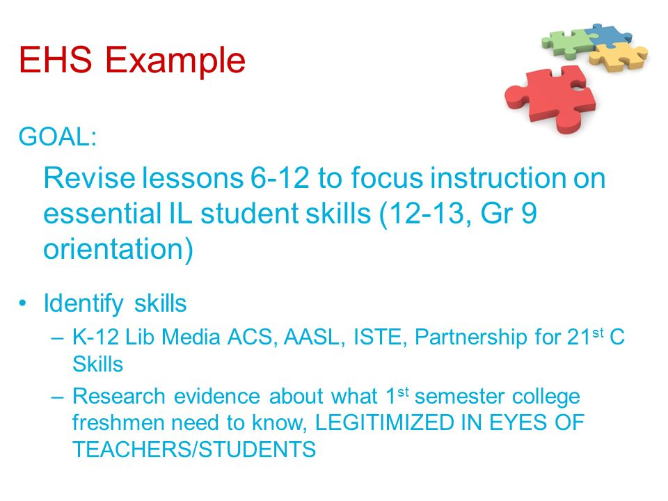 EHS Example GOAL: Revise lessons 6-12 to focus instruction on essential IL student skills (12-13, Gr 9 orientation)