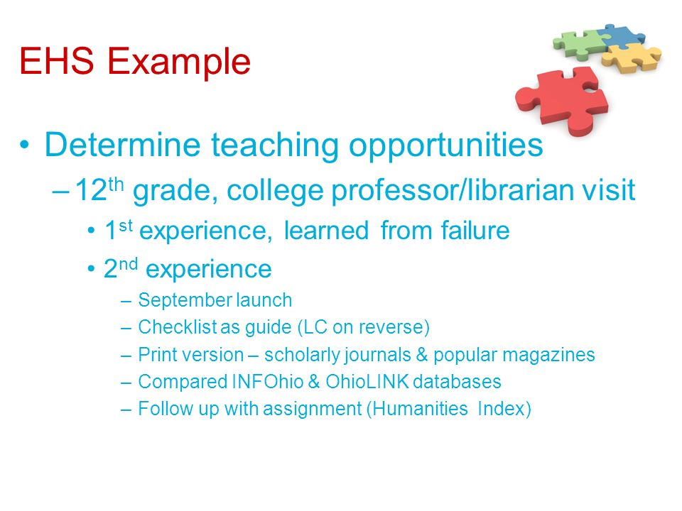 EHS Example Determine teaching opportunities