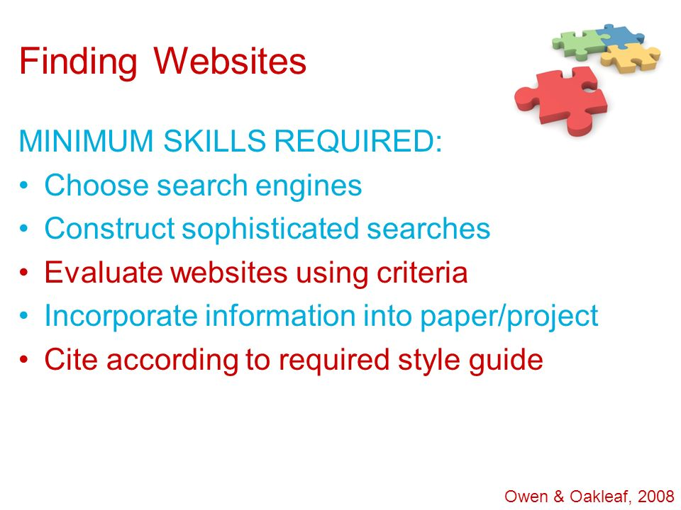 Finding Websites MINIMUM SKILLS REQUIRED: Choose search engines