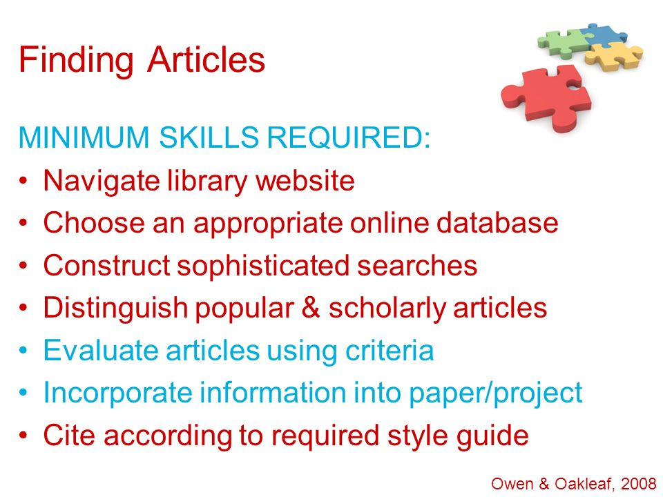 Finding Articles MINIMUM SKILLS REQUIRED: Navigate library website