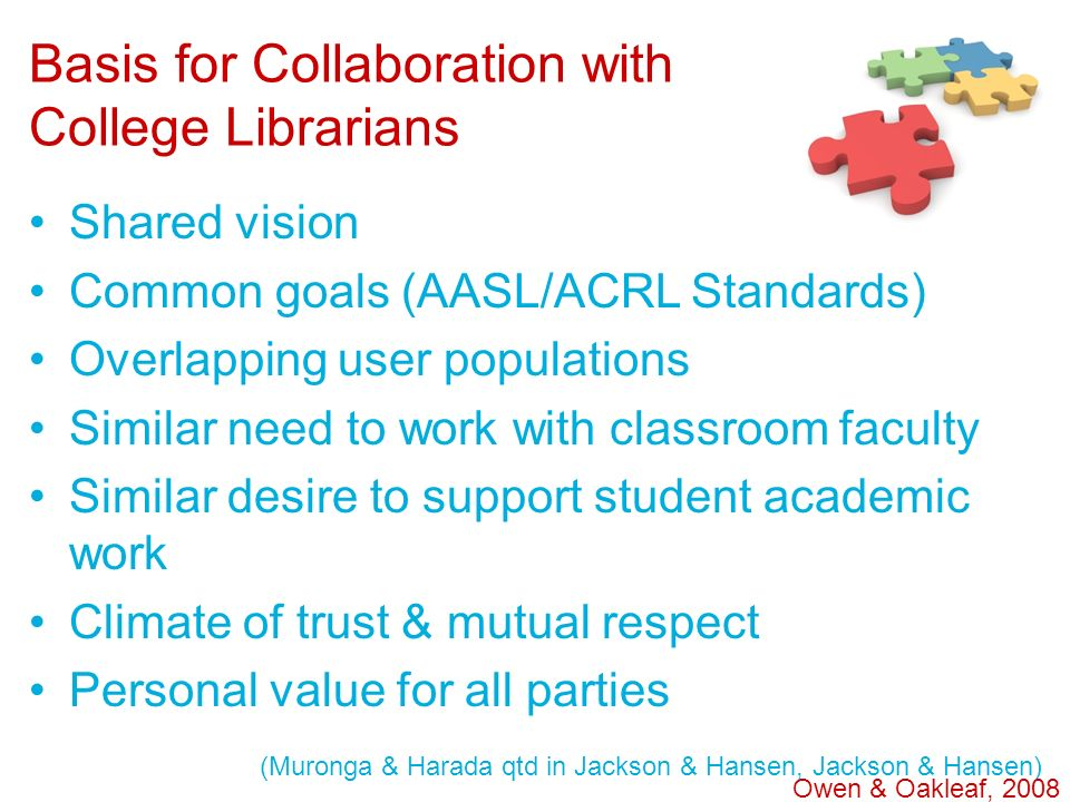 Basis for Collaboration with College Librarians