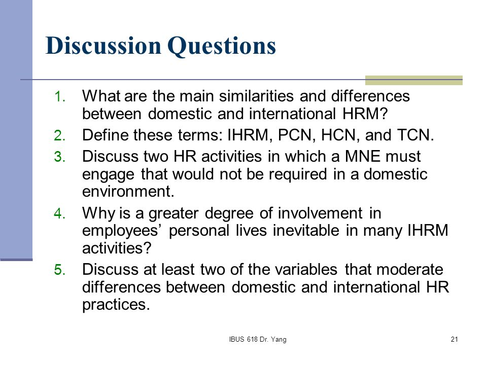 Domestic vs international hrm Coursework Sample