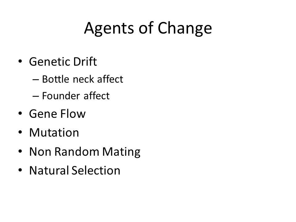 Agents of Change Genetic Drift Gene Flow Mutation Non Random Mating