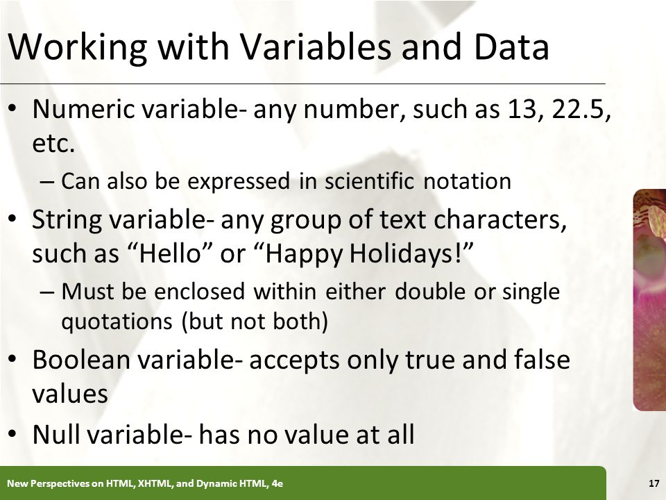 Working with Variables and Data