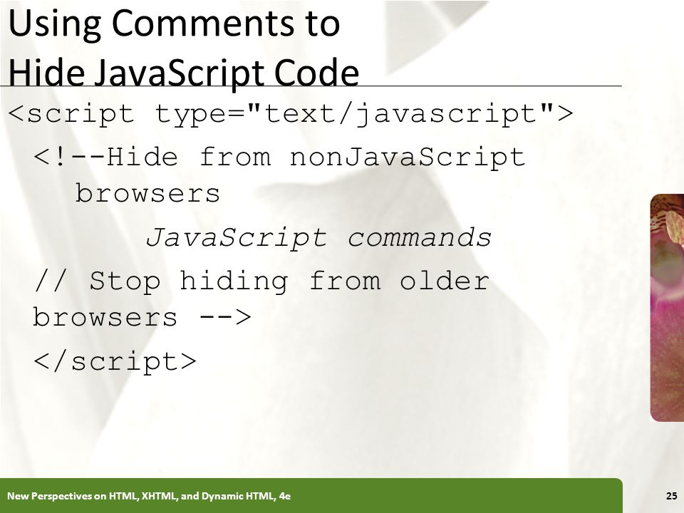 Using Comments to Hide JavaScript Code