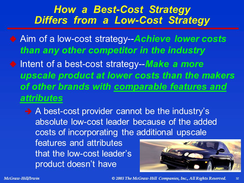 low cost strategy A company that can provide goods or services at a low cost in general, low-cost producers utilize economies of scale in order to execute their strategy of low prices consumers that are sensitive to price changes will more likely shop at the stores that offer the lowest prices, if the good or.