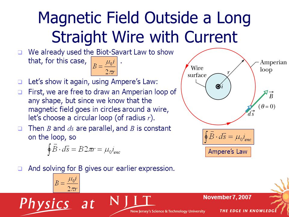 Magnetic Field Outside a Long Straight Wire with Current