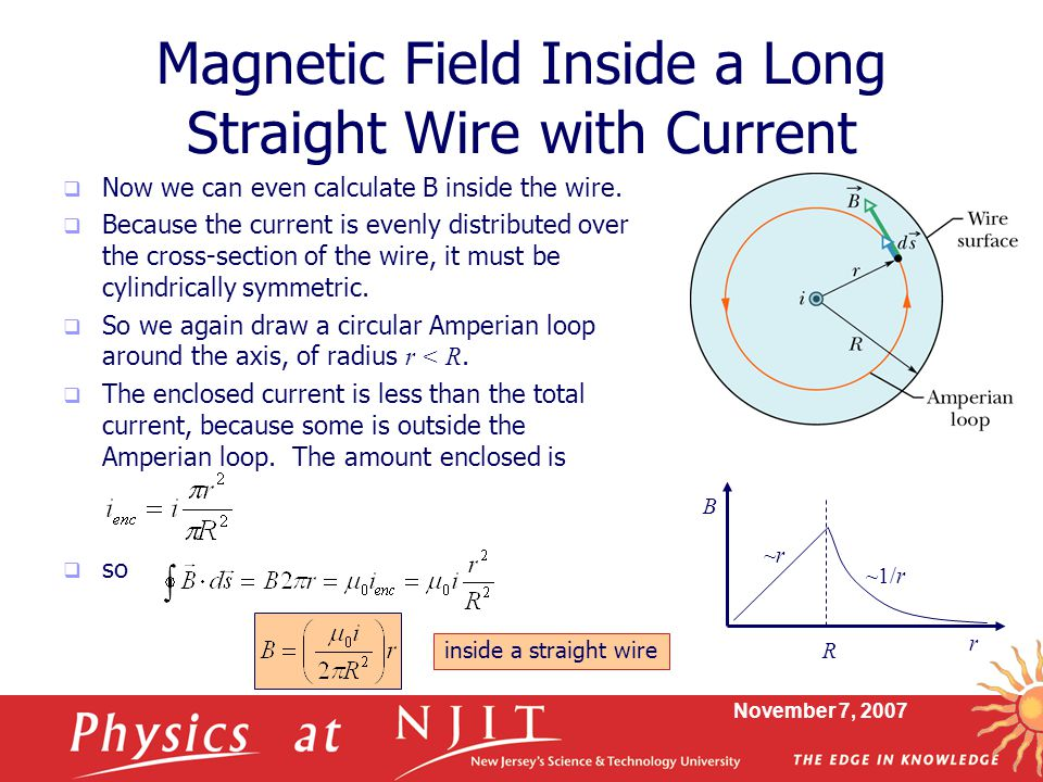 Magnetic Field Inside a Long Straight Wire with Current