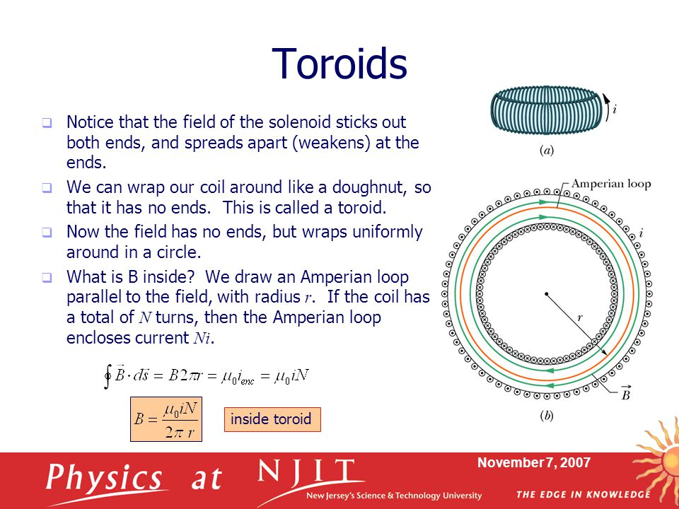 Toroids Notice that the field of the solenoid sticks out both ends, and spreads apart (weakens) at the ends.