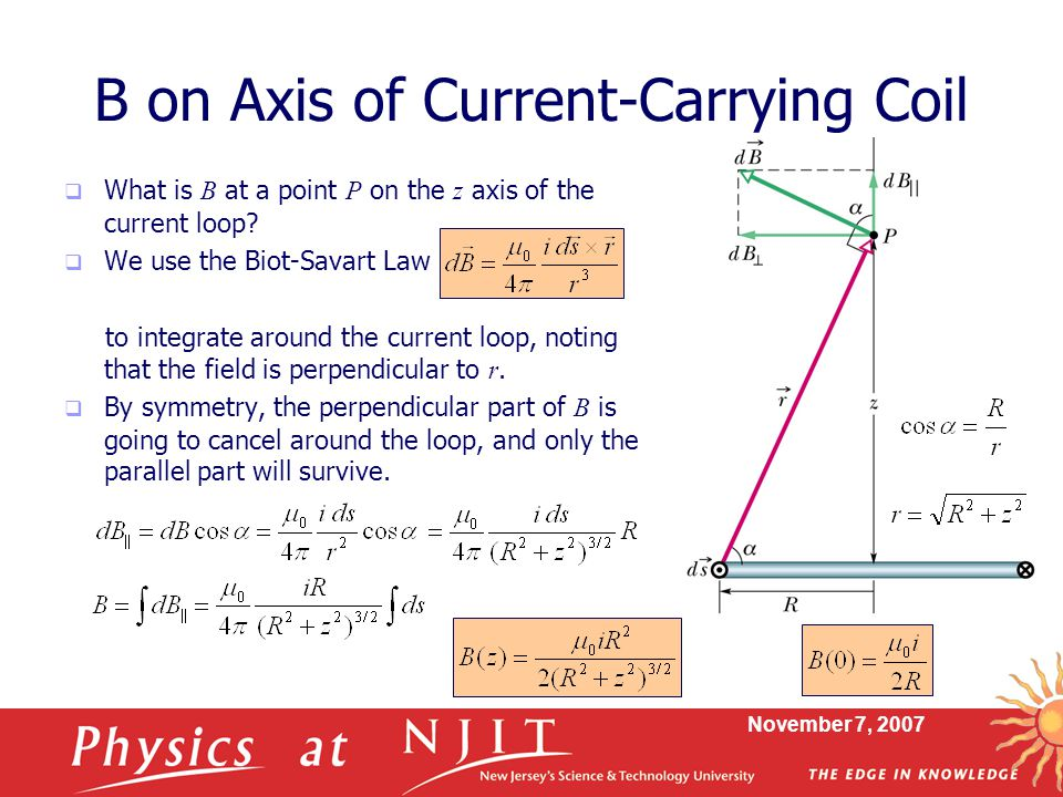 B on Axis of Current-Carrying Coil