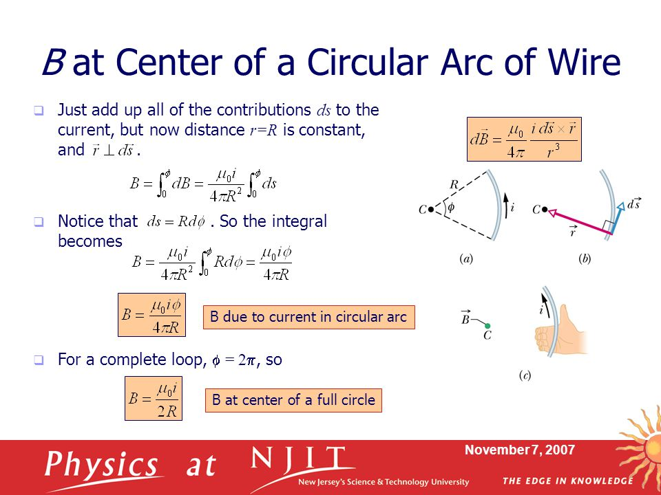 B at Center of a Circular Arc of Wire