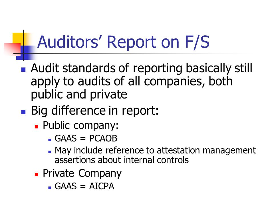 Auditorsu0027 Report On F/S  Private Company Audit Report