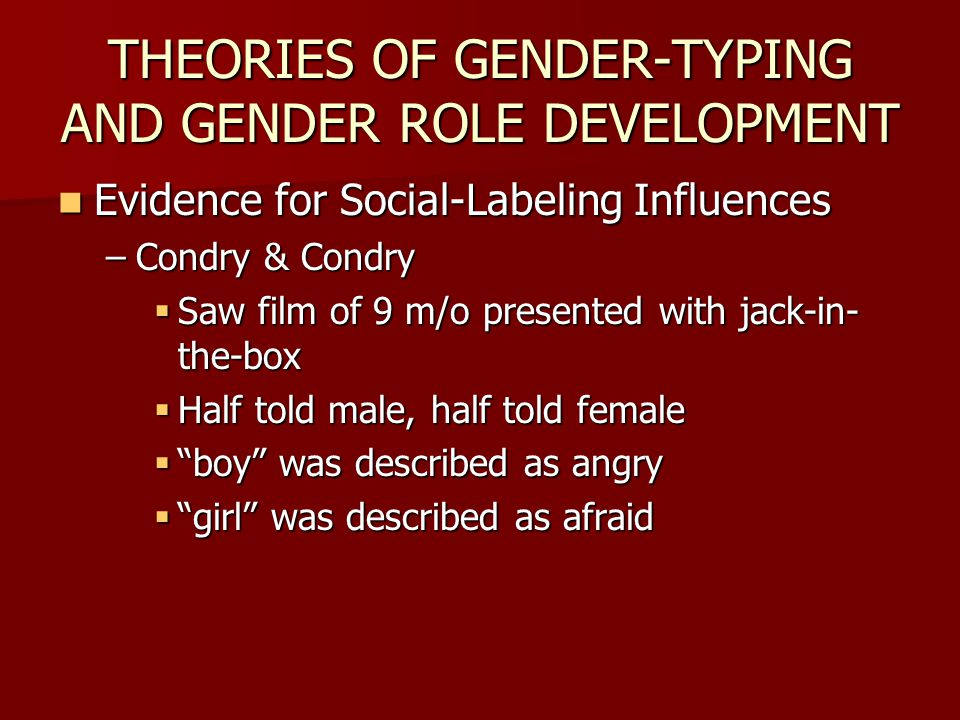 THEORIES OF GENDER-TYPING AND GENDER ROLE DEVELOPMENT