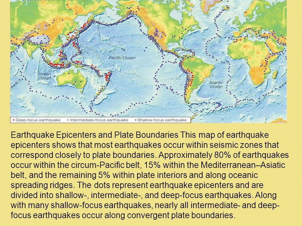 Earthquakes and earths interior ppt video online download 20 earthquake epicenters and plate boundaries this map gumiabroncs Choice Image