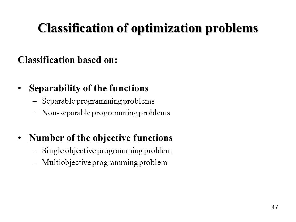 single optimization problems