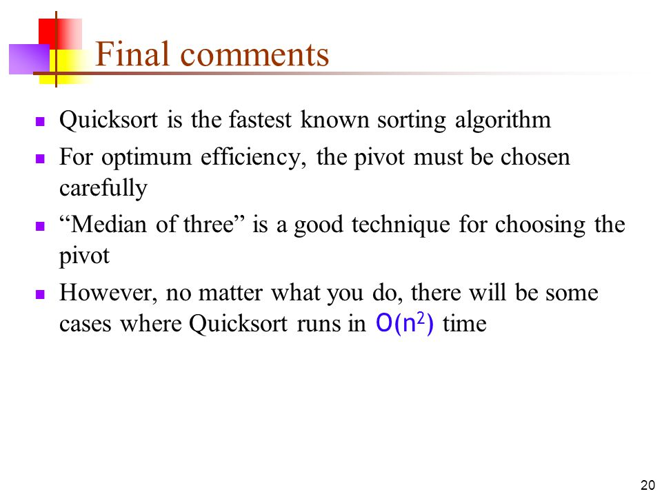 Quicksort ppt download final comments quicksort is the fastest known sorting algorithm ccuart Images