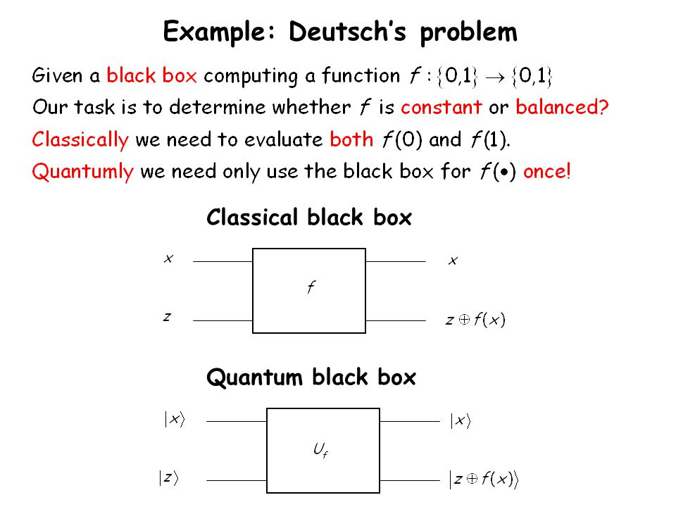 Example: Deutsch's problem