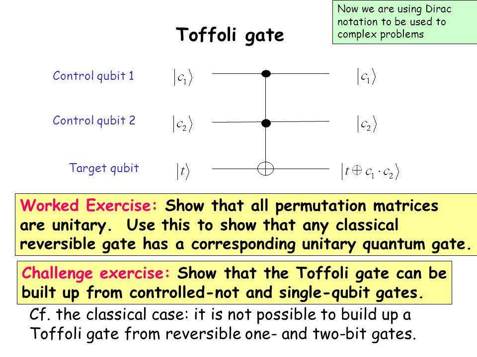 Toffoli gate Worked Exercise: Show that all permutation matrices