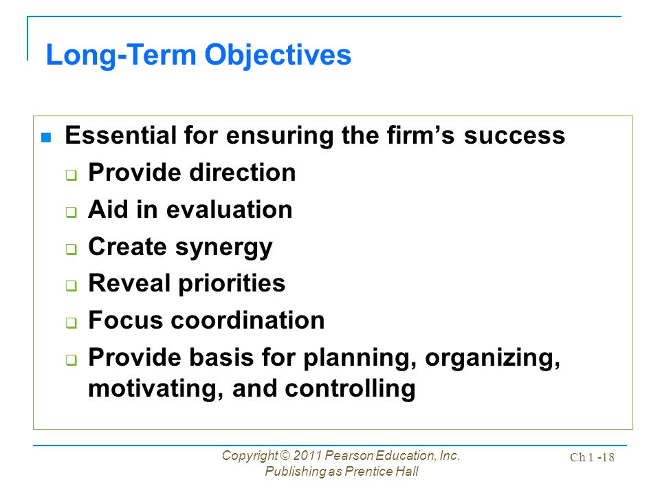 Long-Term Objectives Essential for ensuring the firm's success