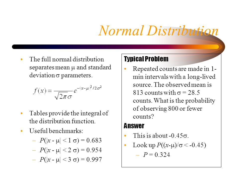 Normal Distribution The full normal distribution separates mean m and standard deviation s parameters.