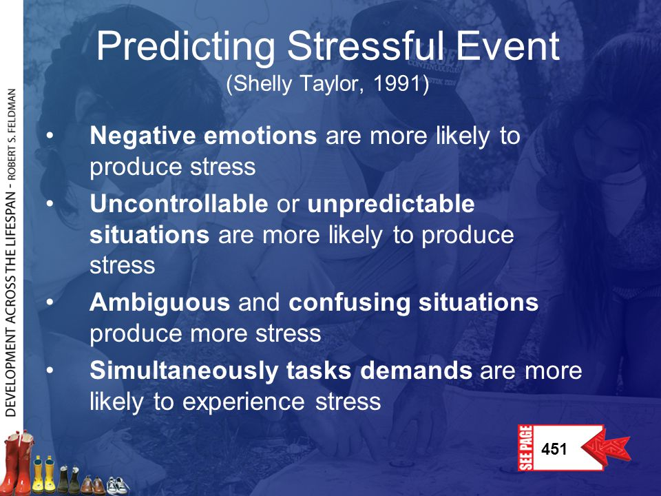 Predicting Stressful Event (Shelly Taylor, 1991)