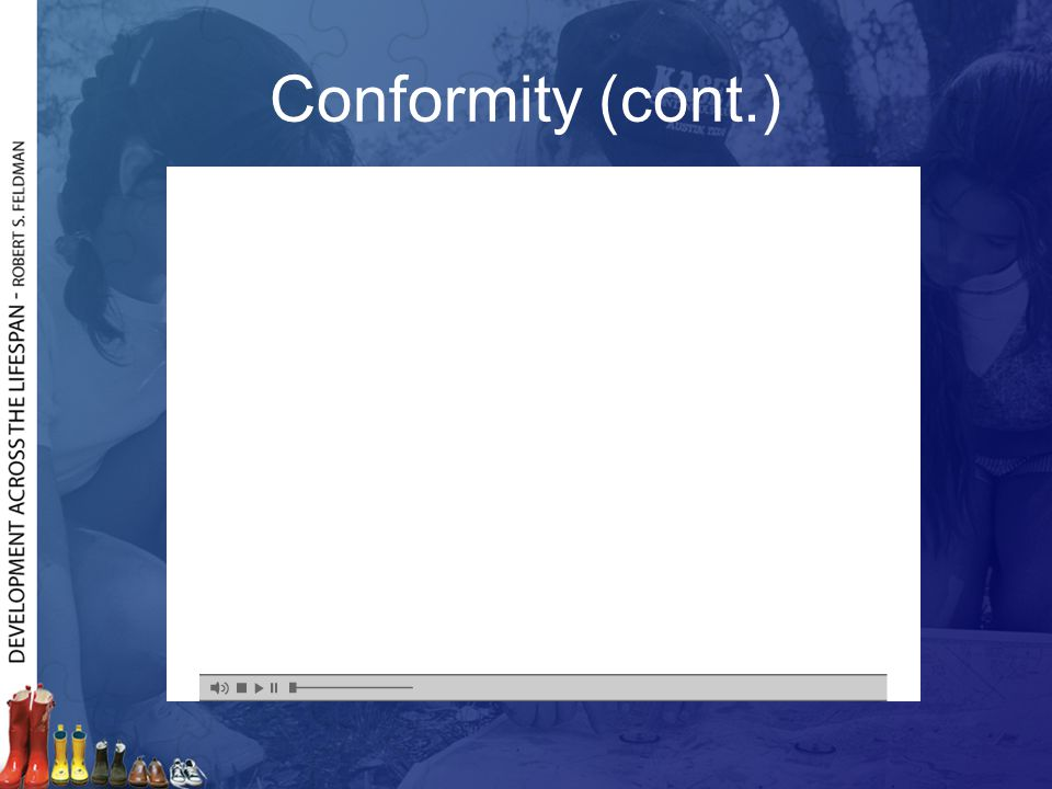 Conformity (cont.) Frame 3: Explains Asch's experiment and relates it to conformity